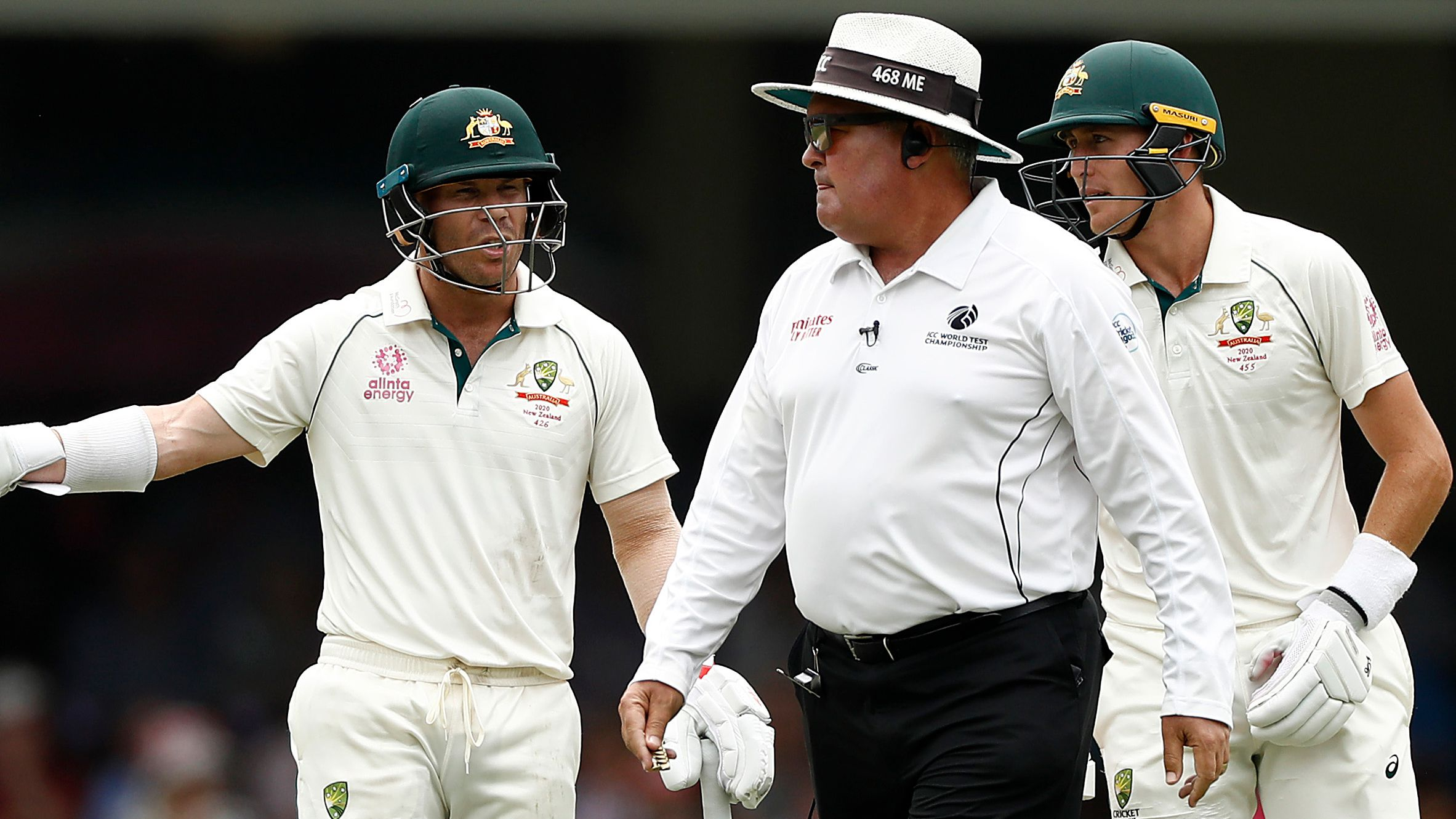 David Warner argues with umpire Marais Erasmus.