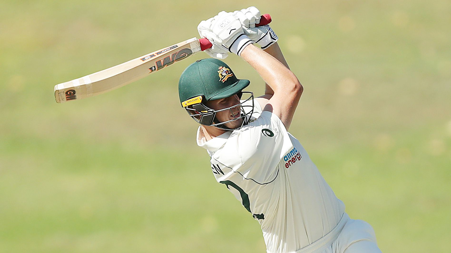 Cameron Green of Australia A hits a six during day two of the three-day tour match.