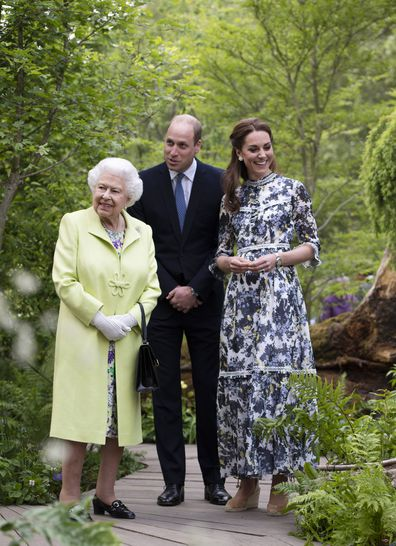 The Queen with the Duke and Duchess of Cambridge at this year's Chelsea Flower Show in May.
