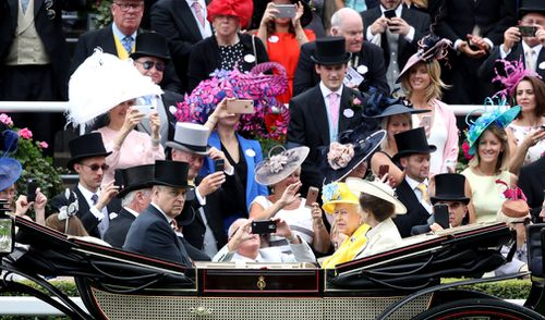 Each at Ascot, carriages carrying the royal procession will leave Windsor Castle and enter the racecourse through the golden gates. Picture: Getty