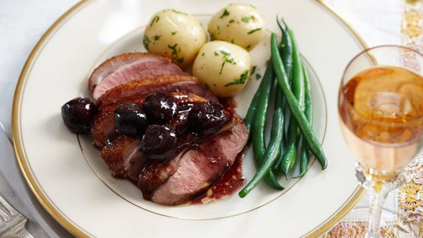 Crispy duck with cherry sauce