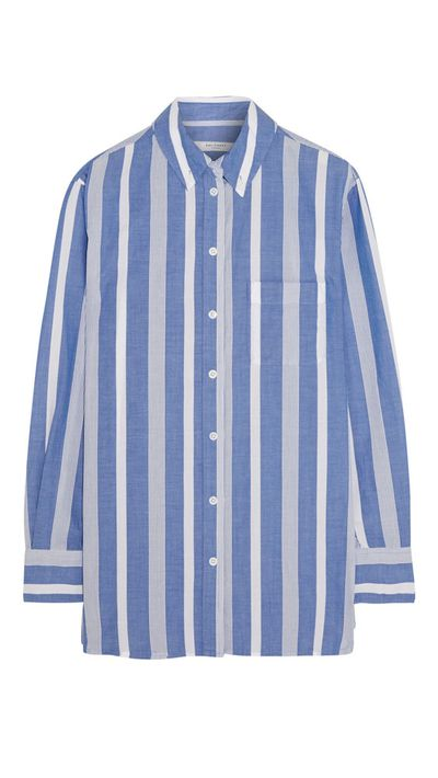 "<p><a href=""http://www.net-a-porter.com/au/en/product/537085"" target=""_blank"">Margaux Oversized Striped Cotton Shirt, $253.98, Equipment</a></p>"