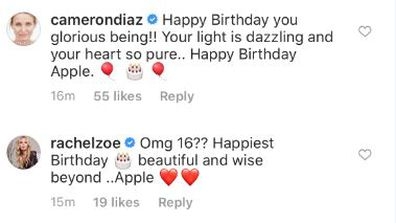 Gwyneth Paltrow, daughter Apple, 16th birthday, greetings, comments