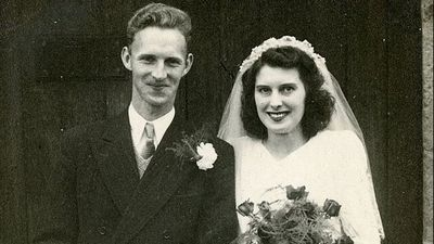 English couple Harry and Mavis Stevenson married in 1949.