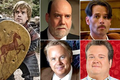 Peter Dinklage &mdash; <i>Game Of Thrones</i><br/>Paul Giamatti &mdash; <i>Too Big To Fail</i><br/>Guy Pearce &mdash; <i>Mildred Pierce</i><br/>Tim Robbins &mdash; <i>Cinema Verite</i><br/>Eric Stonestreet &mdash; <i>Modern Family </i>