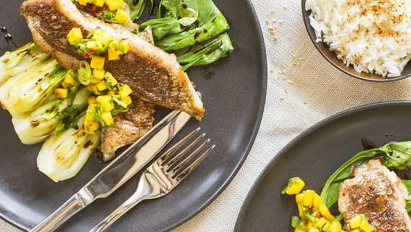 Nadia Lim's masala-dusted fish with rice, bok choy and mango salsa