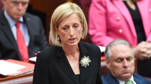 Katy Gallagher made a tearful admission to the Senate last year about her dual citizenship with the UK. (AAP)