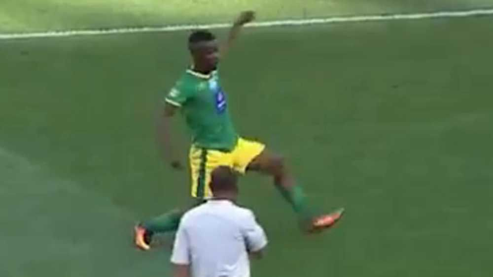 Football: Midfielder booked for strange showboating
