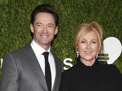 Hugh Jackman and wife Deborra-Lee Furness attend the God's Love We Deliver Golden Heart Awards at Spring Studios on Tuesday, Oct. 16, 2018, in New York.