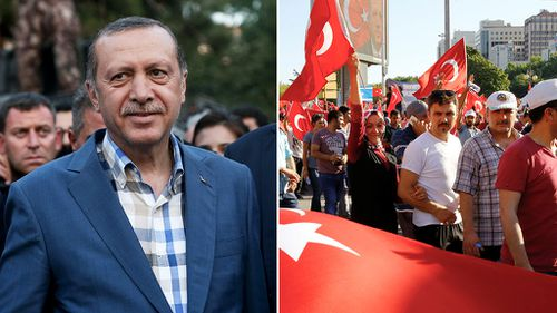 Turkish President Recep Tayyip Erdogan arrives to deliver a speech following the failed coup attempt; people gather at Kizilay Square to react the attempt in Ankara on July 16, 2016. (AFP)