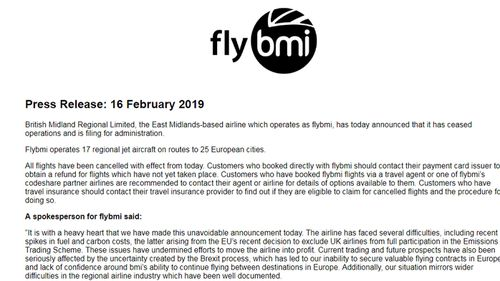 A message on Flybmi's website today