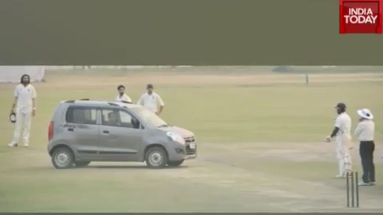 Man drives car onto Delhi pitch