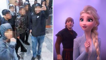 The brawl broke out in a cinema while families were lining up to see Frozen 2.
