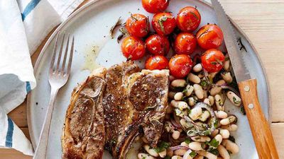 "Recipe: <a href=""http://kitchen.nine.com.au/2017/03/13/12/14/lamb-forequarter-chops-with-roasted-tomatoes-and-white-bean-salad"" target=""_top"">Lamb forequarter chops with roasted tomatoes and white bean salad</a>"