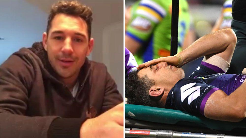 Melbourne fullback Billy Slater reassures fans he's ok after Sia Soliola high tackle