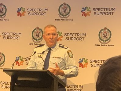 NSW Police Commissioner Michael Fuller addressing Thursday's press conference.
