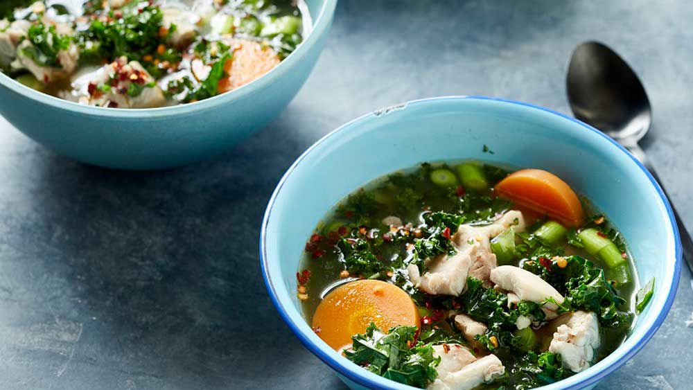 Poached chicken and vegetable broth