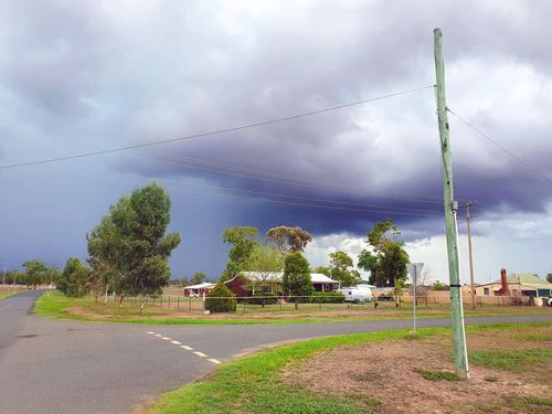 The view looking towards the Kings' property yesterday. Ms King said the cloud burst only over the house.