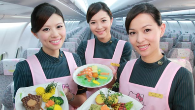 "Flight attendents will double as ""love cupids"" on EVA Air's speed dating flight, the event organizer Mobius says on its poster."
