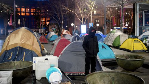 The tent city residents living in Martin Place.