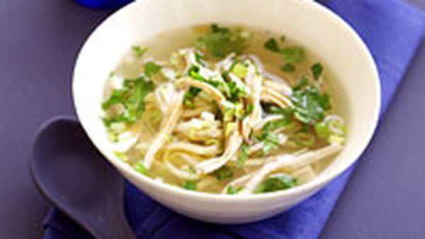 Chicken coriander noodle soup