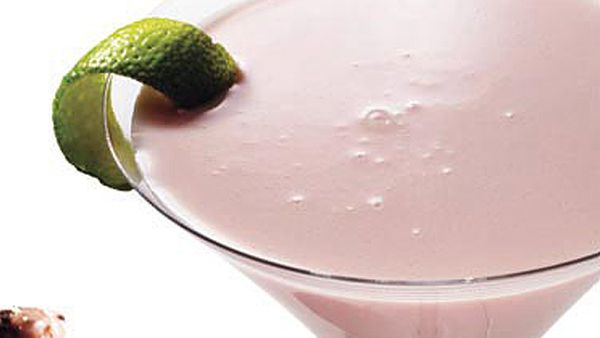 White chocolate cosmopolitans with wasabi chocolate peanut cluster