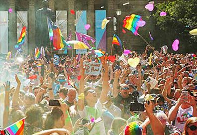 Marriage equality celebrations in Melbourne (Getty)