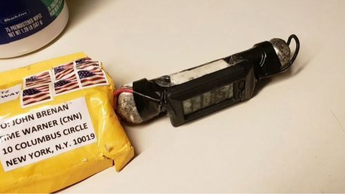 A picture of what is believed to be a pipe bomb sent to CNN headquarters on Wednesday.