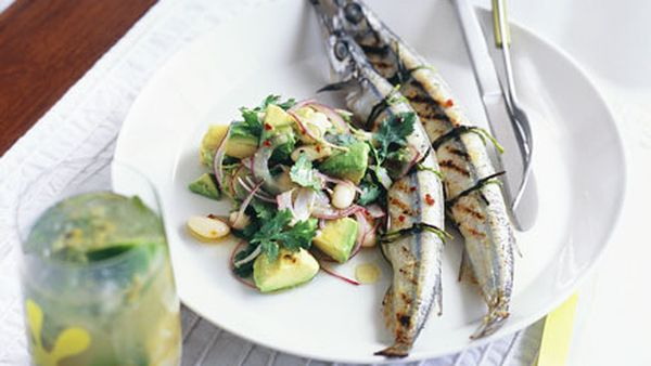 Garfish with white bean, avocado and chipotle chilli salad