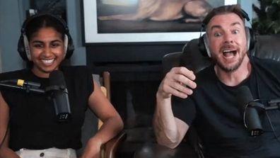 Armchair Expert Podcast hosts Monica Padman and Dax Shepard