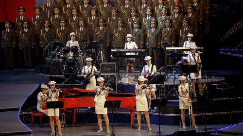 The Moranbong Band performs at a May 2016 congress of North Korea's ruling Workers' Party of Korea. Photo: AP