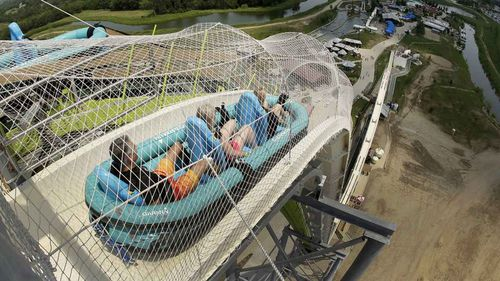 Rafts on the ride made a 17-story drop at speeds of up to 110km/h.