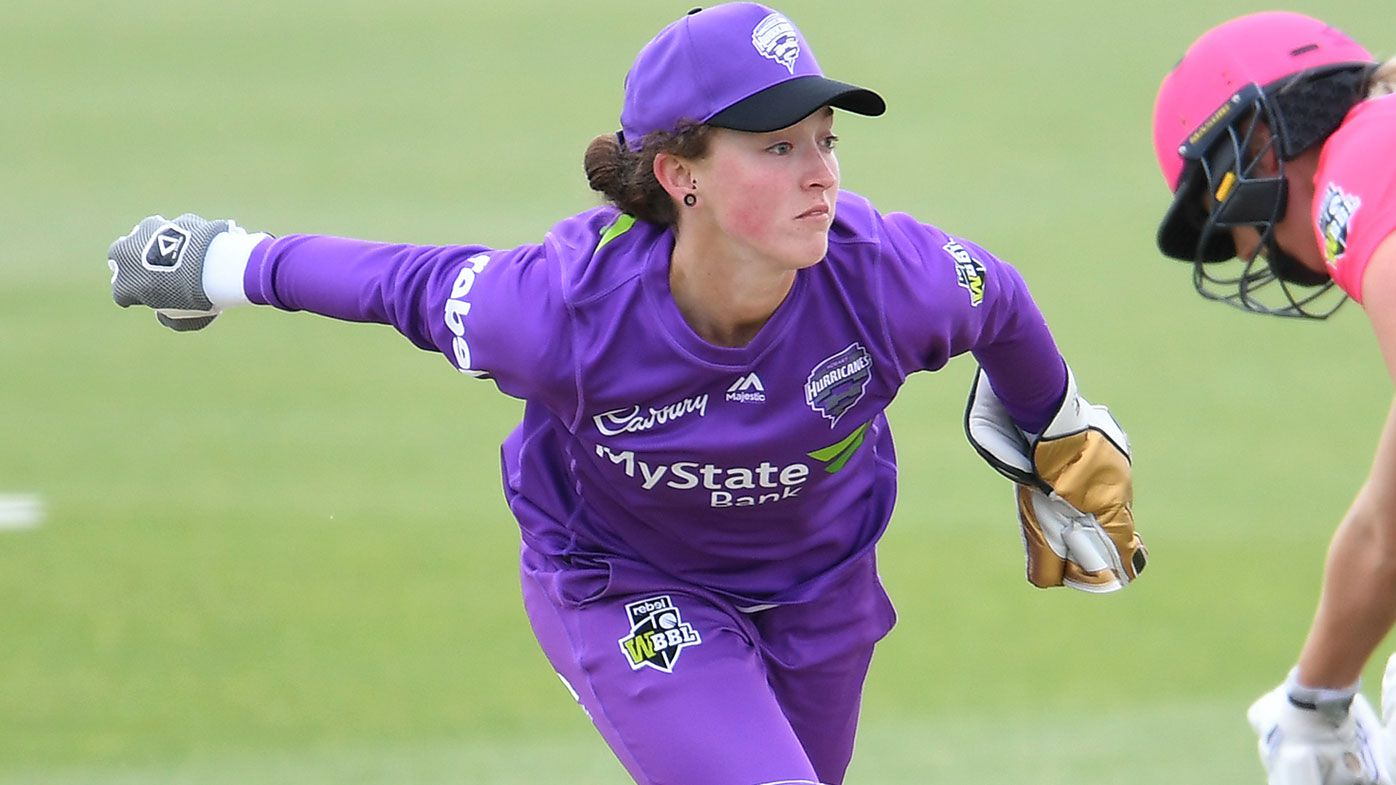 Emily Smith of the Hurricanes in action during the Women's Big Bash League match between the Sydney Sixers and the Hobart