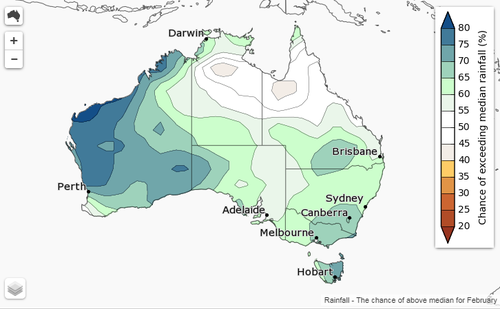 The February monthly outlook for rainfall. (Bureau of Meteorology)