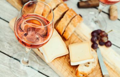 Rose wine and cheese board