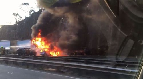 The car burst into ball of flames on collision. Picture: 9NEWS