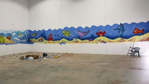 Ms Sharpe said a mural of fish was all the progress that had been made on her pool.