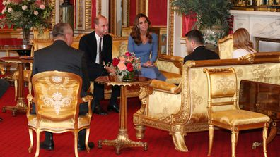 Prince William, Duke of Cambridge and Catherine, Duchess of Cambridge talk with Ukraine's President Volodymyr Zelensky and his wife Olena during an audience at Buckingham Palace on October 7, 2020 in London, England