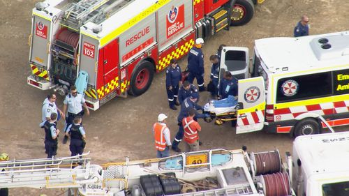 A man has been injured in a workplace accident at a quarry in western Sydney.