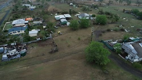 A drone view shot of devastated Tansey.