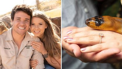 Chandler Powell, Bindi Irwin, engagement ring, photo, snake