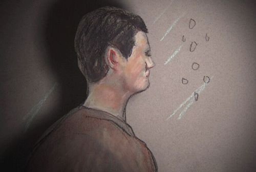 A court sketch of Alex McEwan, who is accused of the murder in Brisbane's CBD.