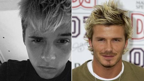 Step away from the bleach! Brooklyn Beckham copies dad's cringey blonde hairstyle