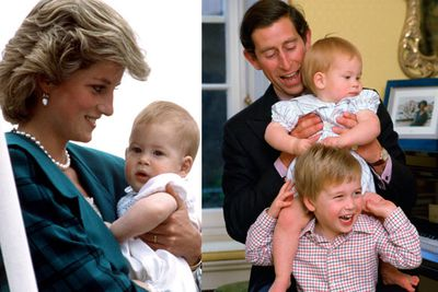 In 1985, Charles and Diana welcomed their second son,<b> Prince Harry</b> to the world. On the left, Di holds Harry on the Royal Yacht, Brittania, on her tour of Italy. On the right, Charles relaxes with his sons at home. Harry still looks so innocent!