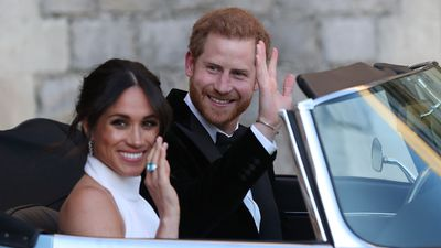 Prince Harry and Meghan Markle zoom off to the evening wedding reception, May 19, 2018