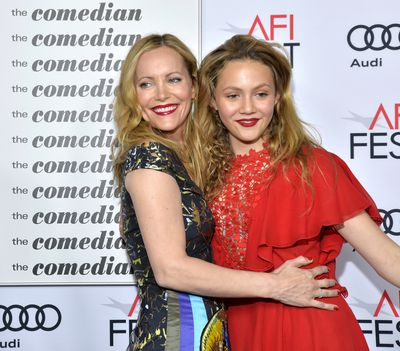 Siren red lips and tousled waves for actress Leslie Mann and daughter Iris Apatow.