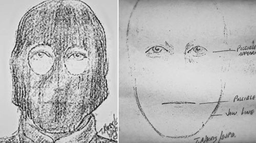 Police followed leads, but in an era before DNA testing, fingerprints were hard to come by and only three sketches were produced showing a man with long hair and narrow eyes. (AP/AAP)