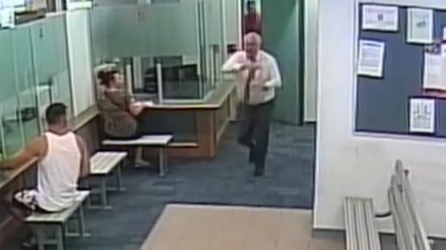 Waiting room CCTV shows the registrar bursting out of the door and calling for help.