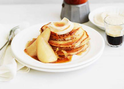 Pancakes with maple-syrup pears and spiced ricotta
