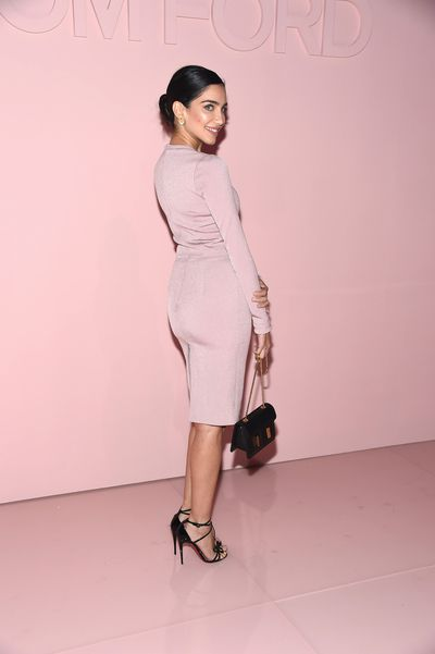 Jessica Kahawaty in Tom Ford at the 'F**cking Fabulous' party at New York Fashion Week, September 2017